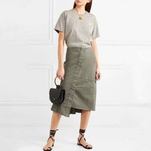 Theory Reconstructed Asymmetric Midi Skirt Green 4